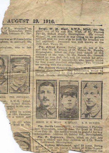 Evans Fred death newspaper 19-08-1916