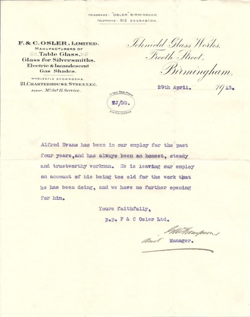 Evans Fred reference letter 29-04-1913